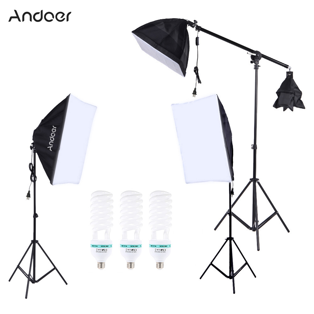 Andoer Professional Photography Photo Lighting Kit Set with 5500K 135W Studio Bulb LightStand Square Cube Softbox Cantilever Bag(China (Mainland))