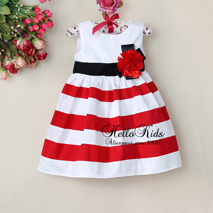 Christmas baby girl dress red and white striped flower girl princess