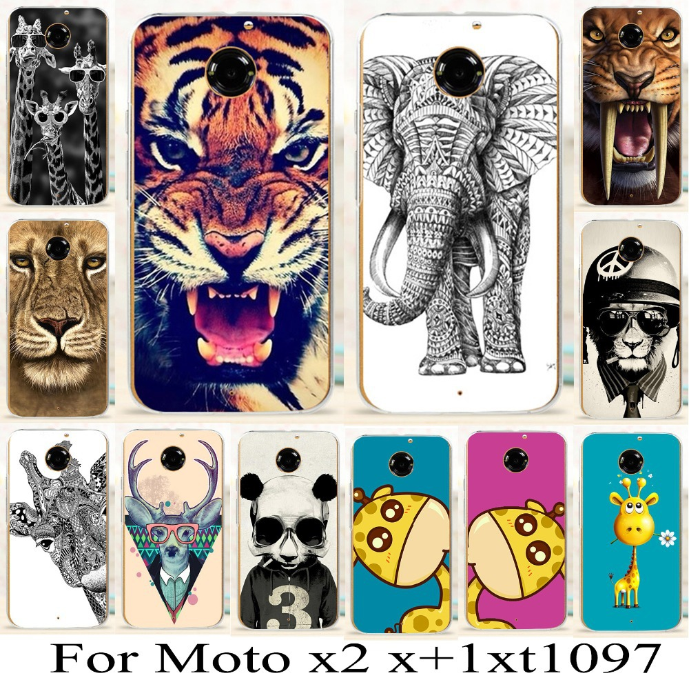 For Motorola Moto X 2nd Gen X2 X+1 XT1095 XT1097 Brilliant Beautiful animal phone cover cases new fashion tiger deer skin shell(China (Mainland))