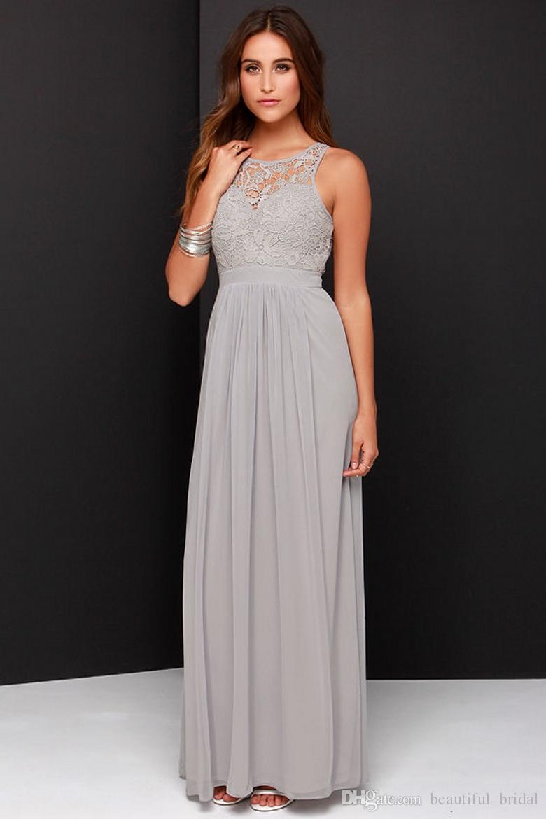 2016 Spring Grey Bridesmaid Dresses Long Chiffon A Line