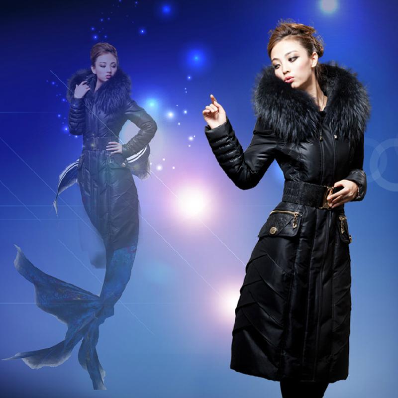 Royalcat fashion luxury large fur collar slim lengthen thickening coat female 2013 - succuba shop store