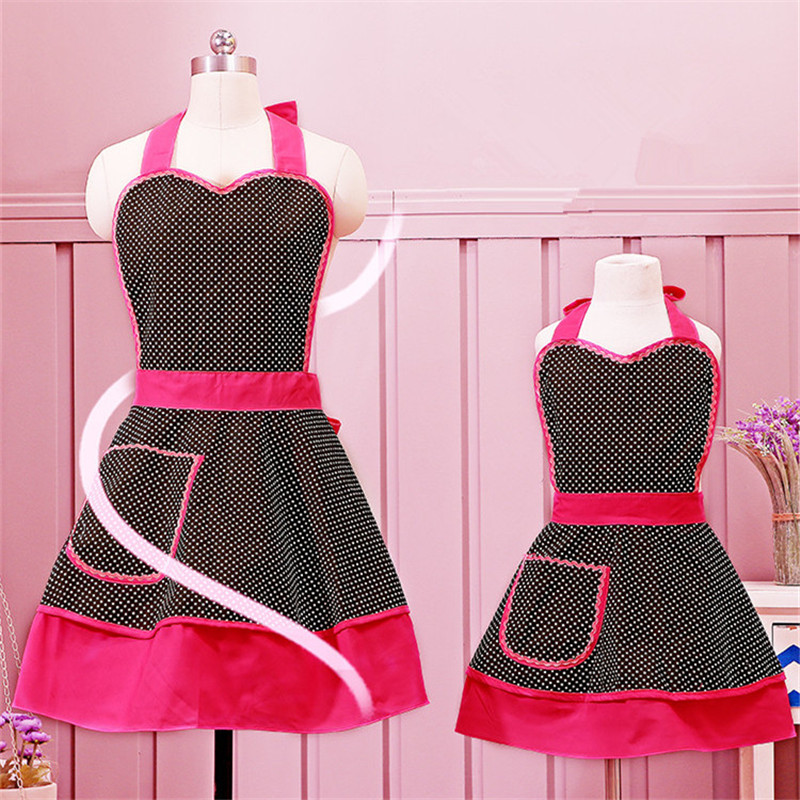 [WIT]Mom Child Set Aprons Cotton Dining Apron with Pocket Zoe Style Kwaii Bib Apron Polka Dot Black White Baking Aprons For Girl(China (Mainland))