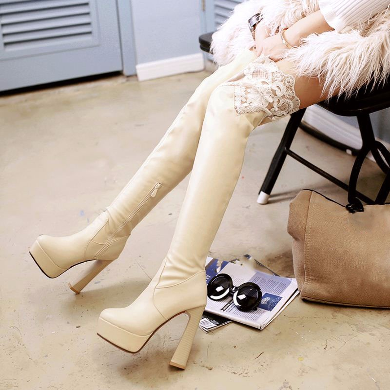 2016 Size 34-43 Fashion 2016 Sexy Lace Hoof High Heels Add Fur Winter Boots Elegant Over The Knee Boots Platform Shoes Woman