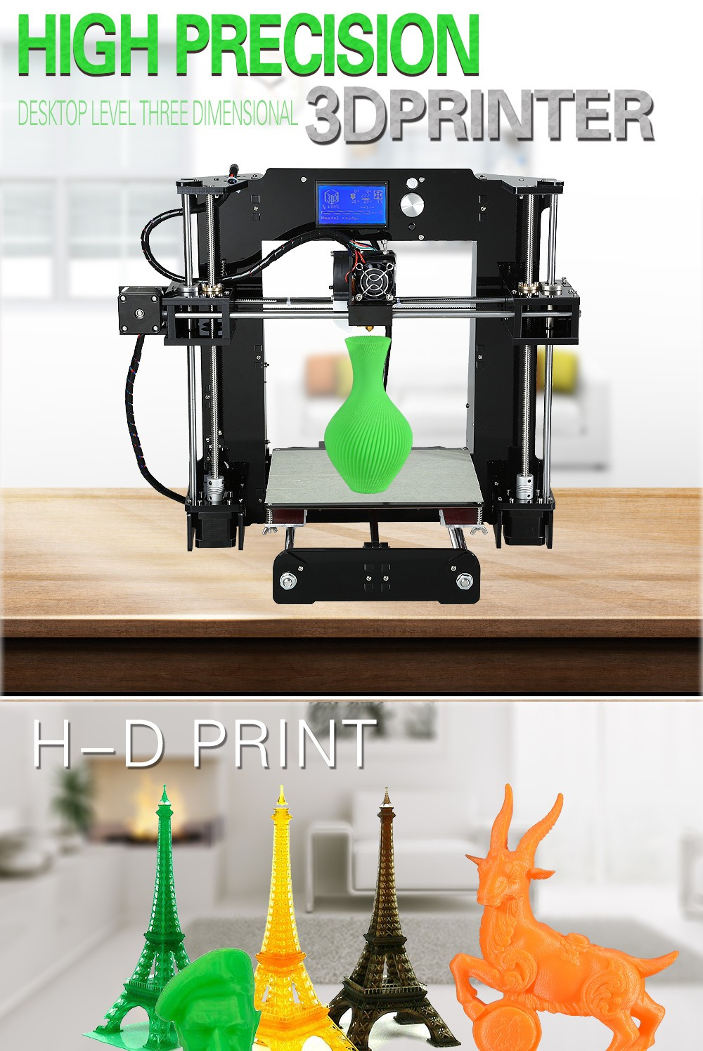 Easy Build Anet A8&A6 Reprap Prusa I3 Arcylic 3d Printer Big Size High Precision DIY3DPrinter Kit+Filament+SD Card+LCD+Hotbed