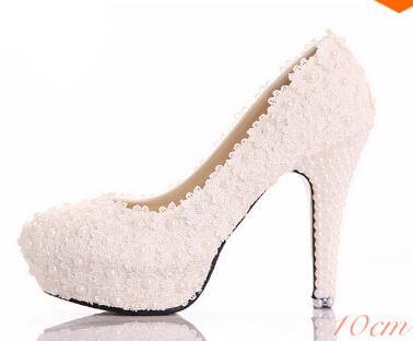 new arrival cheap bridal shoes white lace and pearl wedding shoes