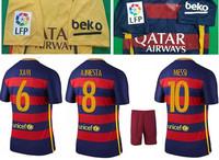 top Quality 2015 2016 La Liga Home red blue away Yellow soccer uniform kits 16 camiseta de futbol BEKO football jersey