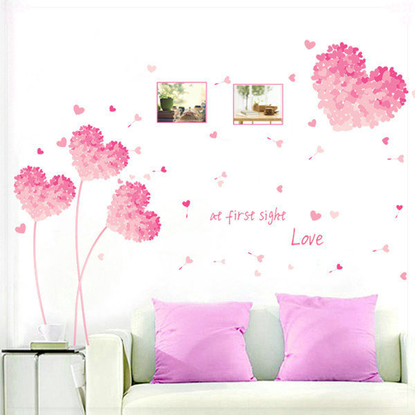 Colored drawing wall stickers tv wall stickers romantic child sticker tapete 3d(China (Mainland))