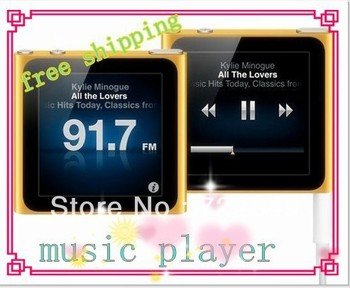Free DHL shipping 8GB  6th 1.8 inch touch screen 6 gen digital MP3 MP4 Player shakable FM Radio Video in original Box  20PCS