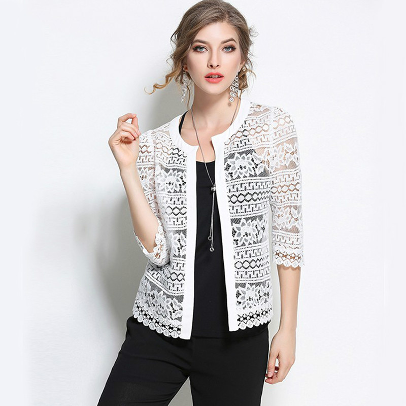 2017 Plus Size Wome Clothing 5XL 4XL Ladies White Lace Blouse Summer Cardigan Coat Black Crochet Sexy Female Blouse Shirt 8095(China (Mainland))