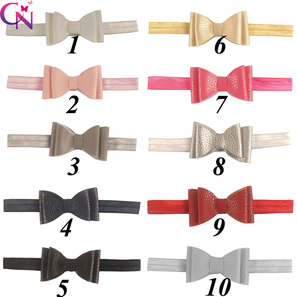 New Fashion High Quality Solid Leather Bow Headband For Baby Toddler Kids Handmade Hair Accessories With Elastic Headwear(China (Mainland))