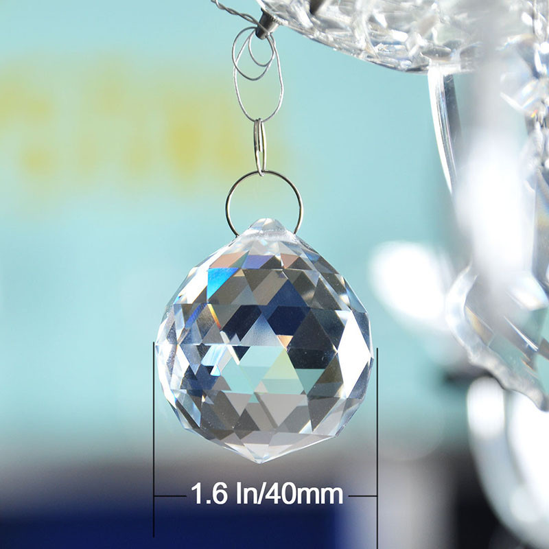 Clear 40mm Faceted Glass Crystal Ball Prism Chandelier Crystal Parts Hanging Pendant Lighting Ball Suncatcher Wedding Home Decor (6)