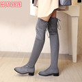 women stretch Faux Suede slim over the knee boots sexy pointed toe low heel lace up