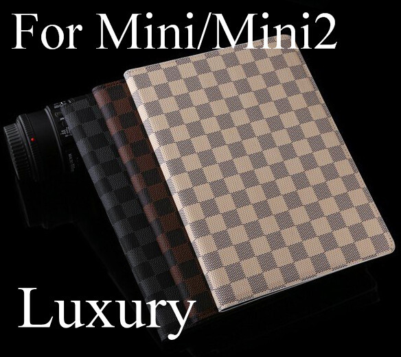 Luxury men man plaid Leather case cover for apple ipad mini ipad mini 2 wallet style holder and smart cover quality fashion cool(China (Mainland))