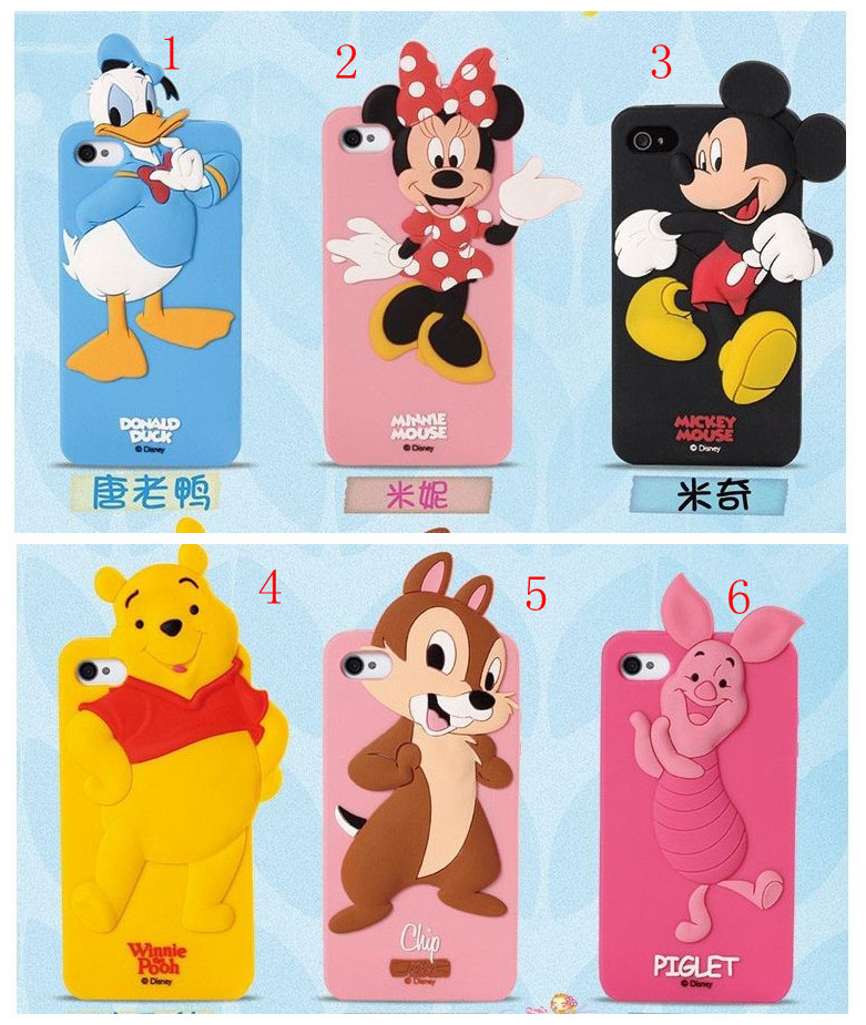 Cute Cartoon Silicon case kawaii 3D cover Bear Mickey Minnie Pig Duck Pooh Chip Case Cover For iphone 6 4.7 inch free shipping(China (Mainland))