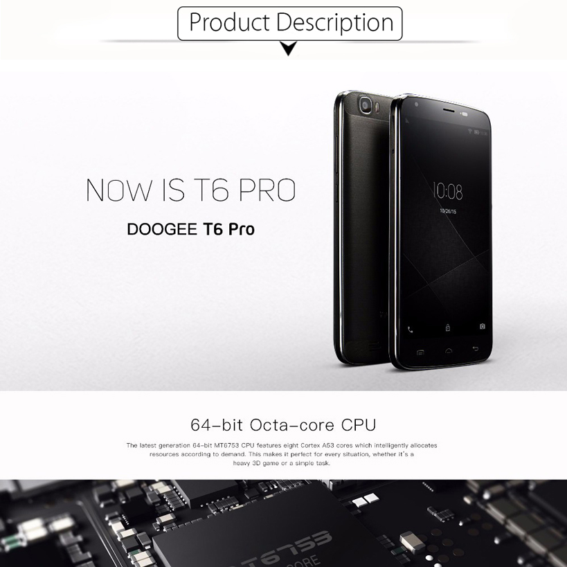 NEW Original Doogee T6 Pro Mobile Phone 3GB RAM 32GB ROM MTK6753 Octa Core Android 6.0 5.5″ Screen 8MP 6250mAh 4G LTE Smartphone