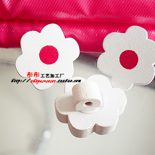 free shipping new B0446 cute white/red flower wood shank buttons cute wood handmade buttons craft/kids(China (Mainland))