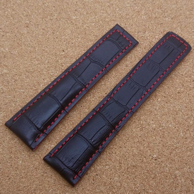 Горячая 22 ММ Черный Ремешок С Красной Сшитые Линии Модный Бренд Часы мужчины Ремни Браслет бесплатно Металлический Складной Развертывания Пряжка