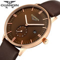 Top Brand luxury GUANQIN Fashion Business Quartz Watches Men Leather Waterproof Wristwatches Men Watch Relogios Masculino