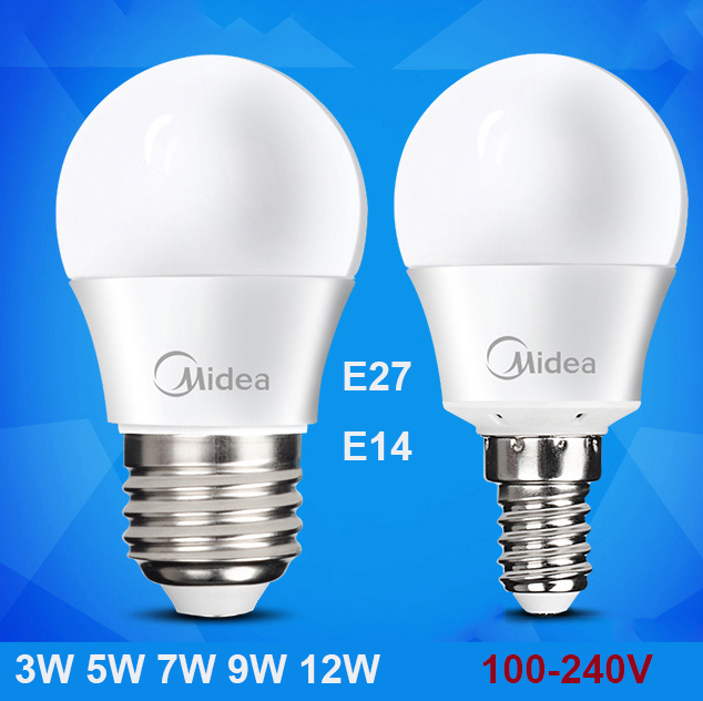 Midea Top quality Lampada led lamp SMD 2835 led bulb E27 E14 Light Bulb 3W 4W 5W 7W 9W 12W Warm White Led Spotlight Lamps(China (Mainland))