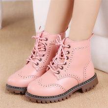 חדש ילדה עור מרטין מגפי נעלי בנות ילדי החלקה חם מגפי אופנה רך תחתון בני בנות מגפיים ילדים סניקרס(China)