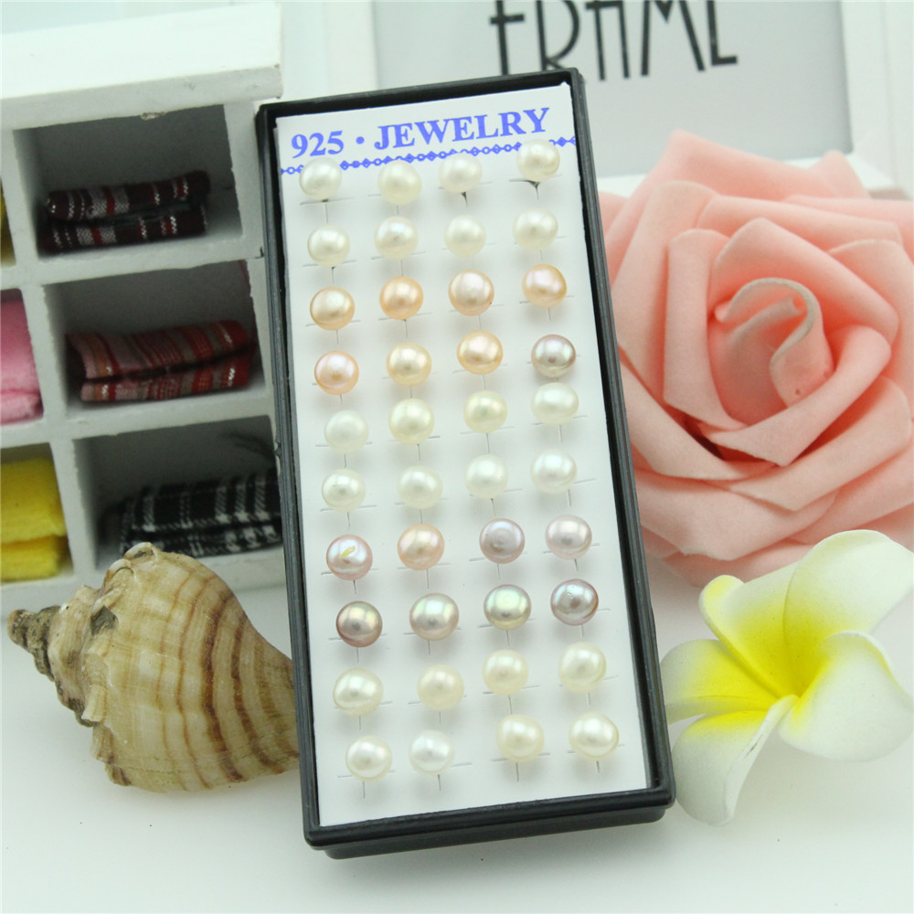 40pcs 925 sterling silver earrings Female mixed color silver inlaid natural pearl earrings Round pearl women stud earrings 6mm
