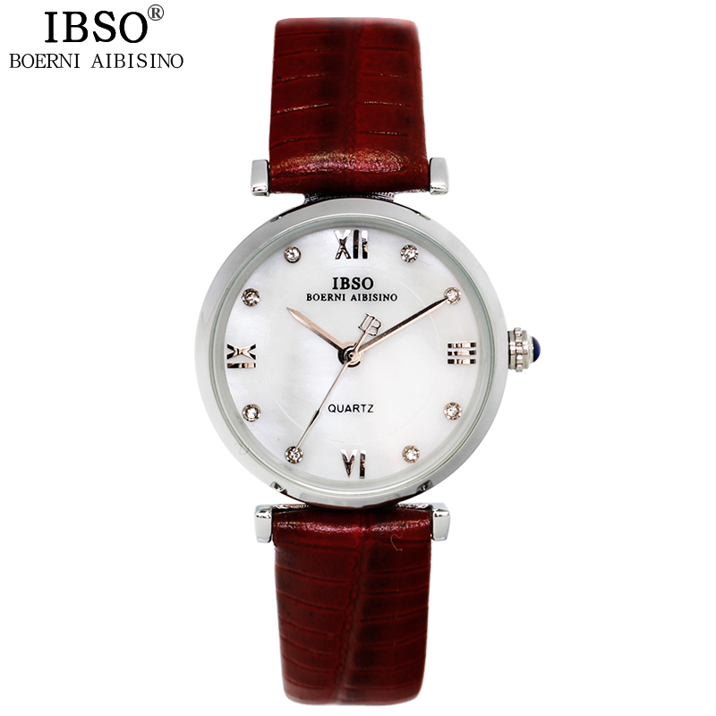 IBSO Original Business Top Quality Lovers Watch Fashion Party Genuine Leather Band Clock Woman Casual Travel Relojes Mujer 2016<br><br>Aliexpress