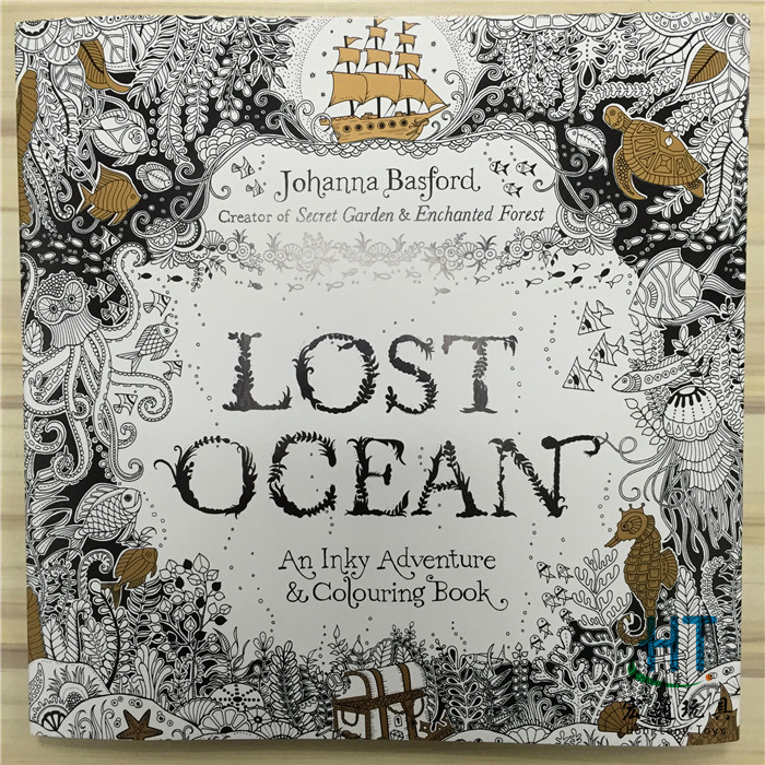 96 Pages English Edition Lost Ocean Secret Garden style Colouring Book For Relieve Stress Graffiti Painting Drawing Book(China (Mainland))