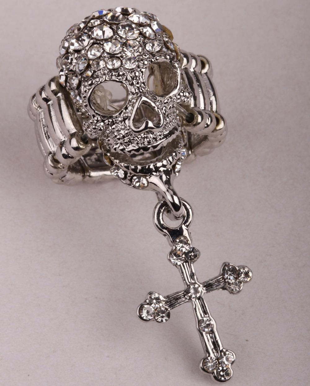 Skull cross stretch ring for women girls halloween costume gothic jewelry biker charm W/ crystal RM36(China (Mainland))