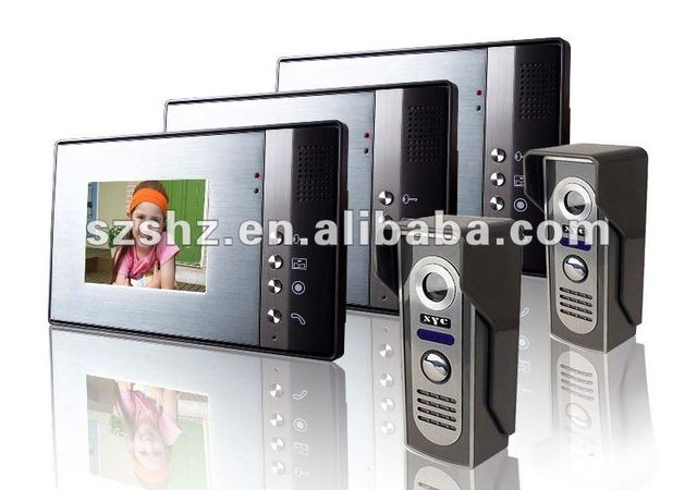wholesales 5.6'' color handsfree wired video door phone , intercom system with 2 camera + 3 monitor