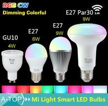 1Pcs 100% Original Mi Light Lamp 2.4G Wireless WiFi Control Dimmable 110V 220V RGBW RGBWW E27 GU10 4W 6W 9W Mi Light Smart Bulb(China (Mainland))