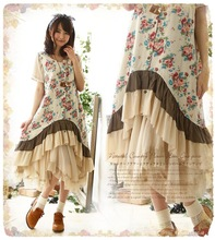 New Spring Japan Korean Style Mori Girl Kawaii Lolita Cute Brief Print Flowers Ruffles Sleeveless Loose