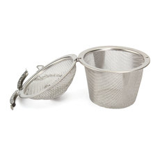 Durable 4 5cm Silver Reusable Stainless Mesh Herbal Ball Tea Spice Strainer Teakettle Locking Tea Filter