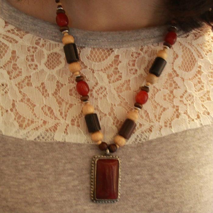 Tibet Nepal ethnic jewelry wholesale wooden beads necklace alloy B-143(China (Mainland))