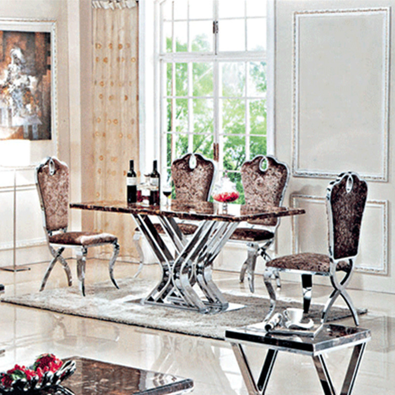 marble top metal modern dining table and chairs living room dining set