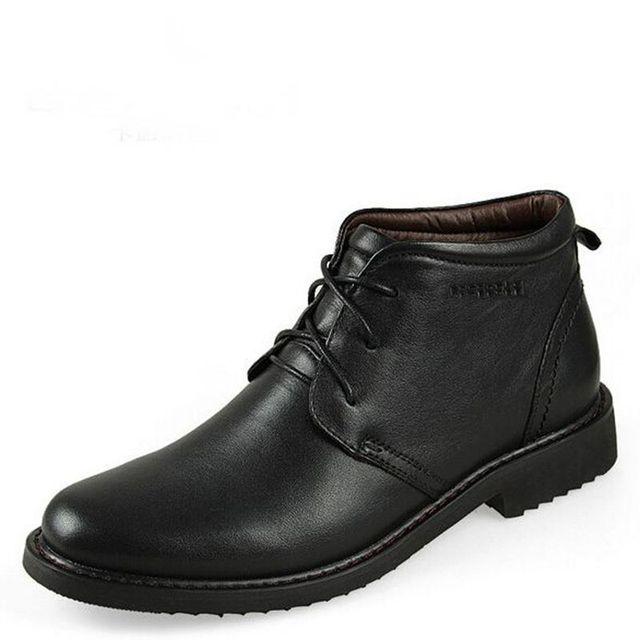 Новые Люди Зимние ботинки Высокого Качества обувь Из Натуральной кожи с Мехом теплый ...