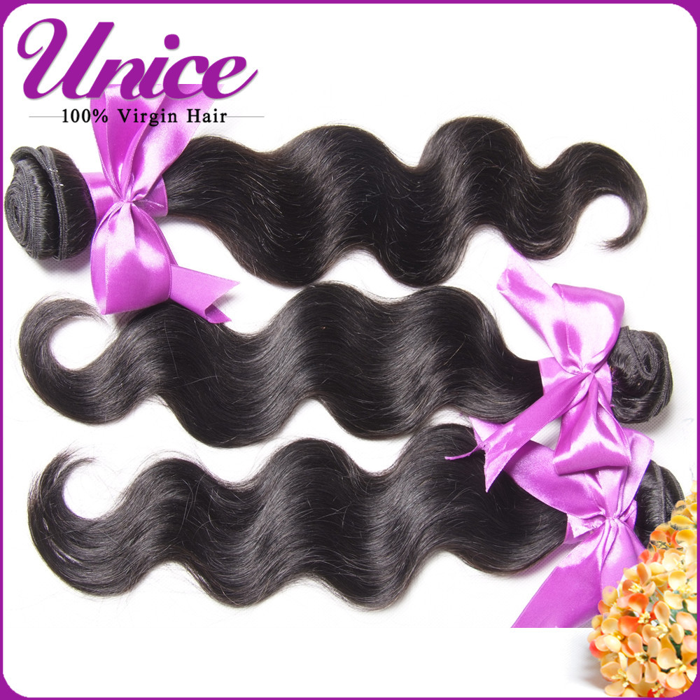 Unice Brazilian Virgin Hair 3pcs Lot Brazilian Body Wave Color #2& Natural Black Hair Extension, 6A Brazilian Hair Weave Bundles(China (Mainland))
