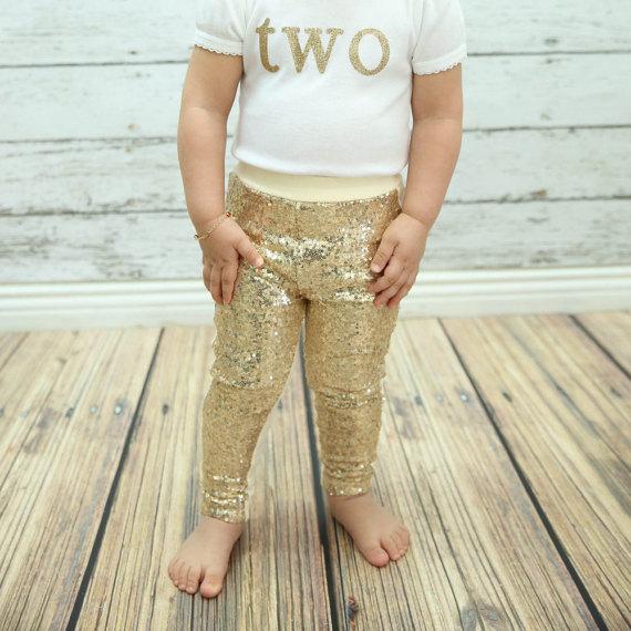 Gold sequin sparkle pants girls leggings toddler pants ...