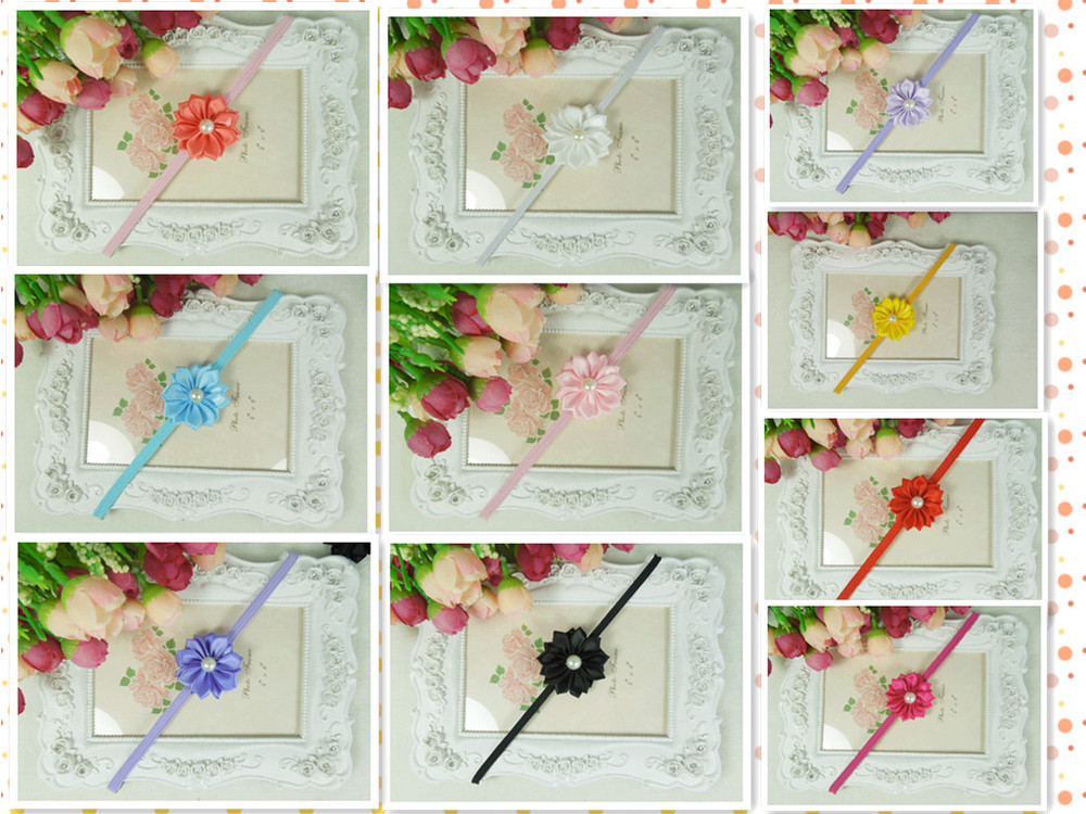 Baby satin ribbon flower headbands DIY layered flower with Pearl on skinny elastic Headband 30pcs/lot