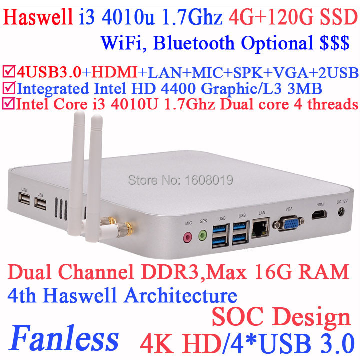 Haswell Architecture I3 4010u shuttle pc with Intel Core i3 4010U 1.7Ghz SOC design 4K HD support 4G RAM 120G SSD windows linux(China (Mainland))