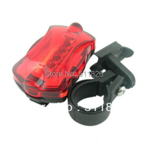 Free Shipping 5 LED 6 Mode Tail Rear Safety Warning Flashing Bike Bicycle Flashlight Light Lamp 9751