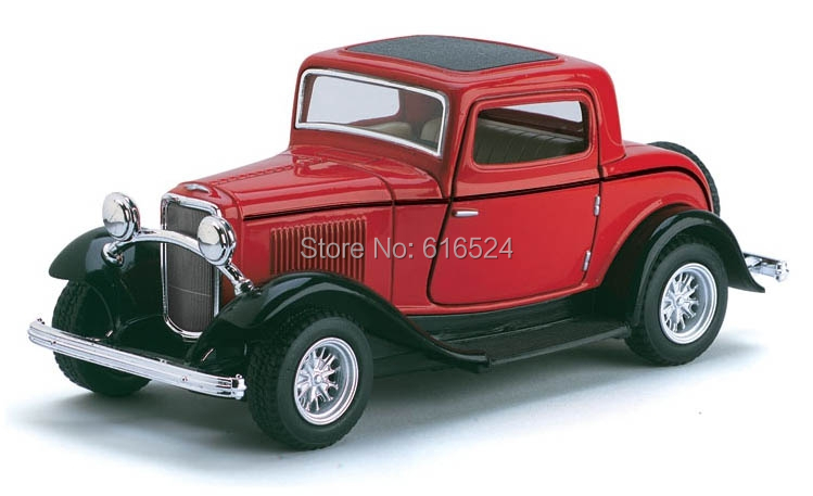 Brand New Classic 1932 Ford 3-Window Coupe Retro Car Vintage Die Cast Boys Collectible 1/34 scale Pull-Back Alloy model toy cars(China (Mainland))