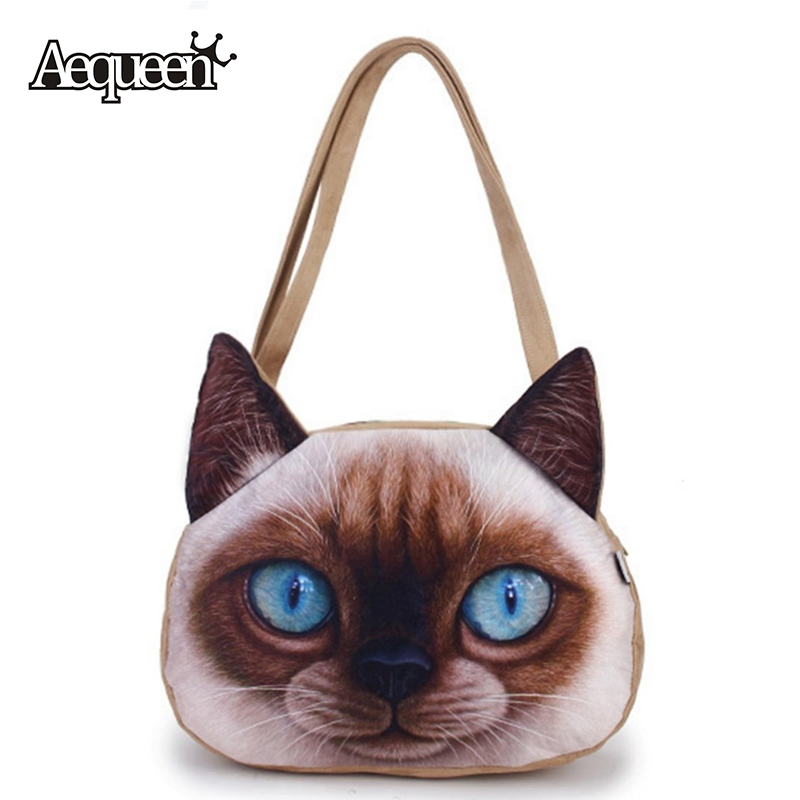 3D Frosted Women Cute Cat Printing Handbags Shoulder Zipper Polyester Student Handbag Girls Animals Bag Bookbag Casual Tote Hot(China (Mainland))