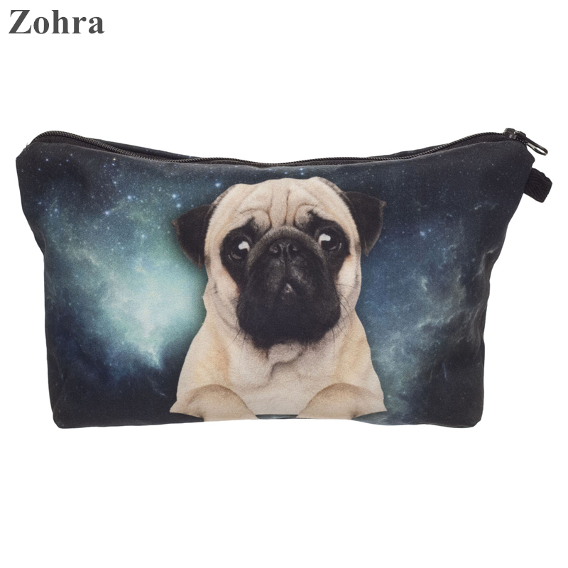 Zohra galaxy pug 3D printing necessaire Women Cosmetics Bags organizador neceser travel organizer maleta de maquiagem Makeup bag<br><br>Aliexpress