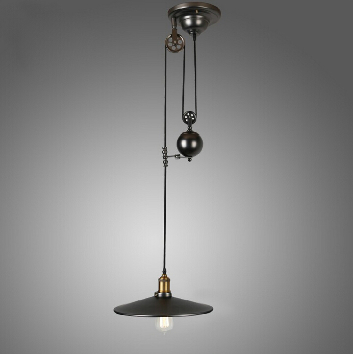 vintage american industrial pendant lights rh loft pulley. Black Bedroom Furniture Sets. Home Design Ideas