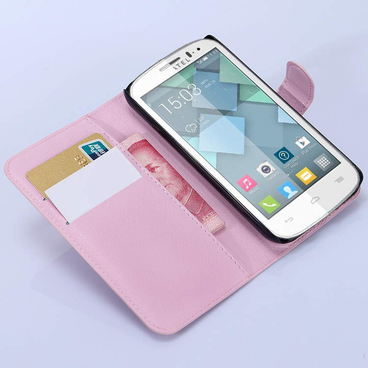 case Alcatel One Touch POP C7 OT 7040 7040D 7041D litchi texture leather wallet design stand function - BOSO Technology Co., Ltd (ShenZhen store)