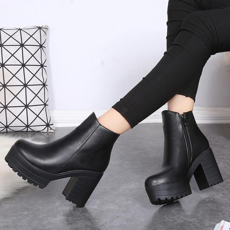 2016 winter 9CM high-heeled thick heel short martin boots platform side zipper cotton-padded pumps BEIBEI0021 - My Happy Niu Store store
