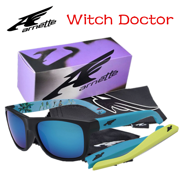 Arnette Witch Doctor Sunglasses With Original Box Case Men Pilot Motorcycle Cycling Goggle Eyewear Sports Sunglasses Rose Green(China (Mainland))