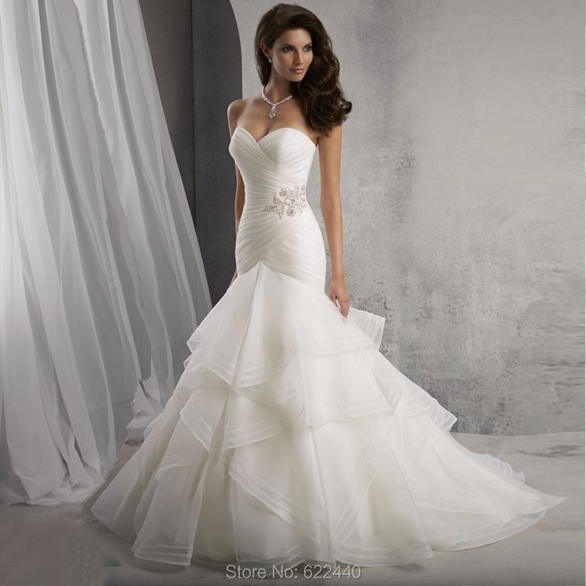 Organza ruffles mermaid wedding dresses strapless for Mermaid wedding dress with ruffles