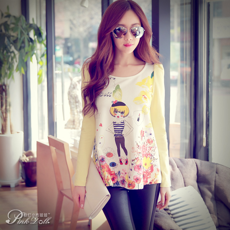 Long-sleeve T-shirt Women pink baby doll 2015 summer basic shirt cotton print puff sleeve female t-shirt(China (Mainland))