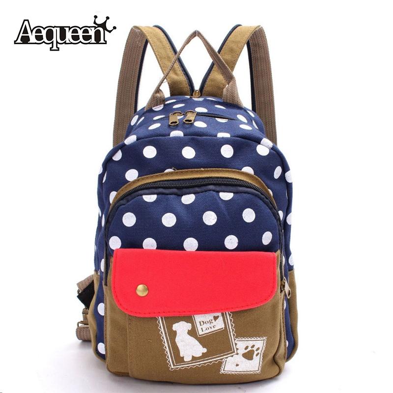 2016 Women Canvas Backpack Schoolbag Bookbag Rucksack Shoulder Bag 2 Style Satchel Polka Dog Dot Travel